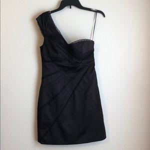 JS Collections Black One Shoulder Cocktail Dress